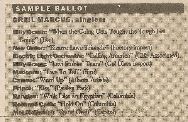 greilmarcus.net - pazz & jop singles 1986