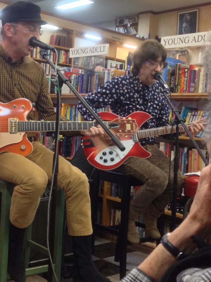 Don Ciccone and Cyril Jordan (Flamin' Groovies) @ Greil appearance, Pegasus Books, Berkeley (08/24/14)